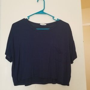 Zenana Outfitters Navy Cropped Pocket Tee